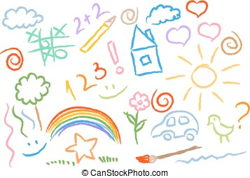 children drawing multicolored symbols vector set