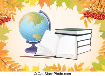 autumn school background with globe, books and leaves vector