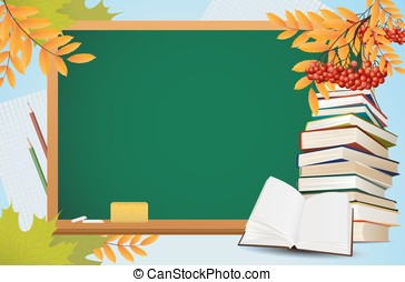 school autumn background with blackboard, books and yellow...