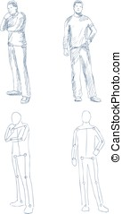 man artistic sketch with shading vector