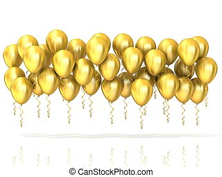 Golden party balloons row, isolated on white background