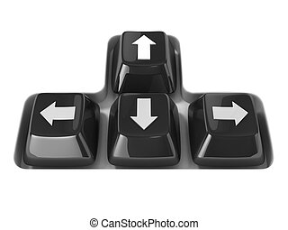 The four black keyboard arrows keys on a white background...