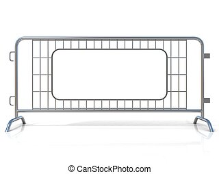 Steel barricades, isolated on white background. Front view,...