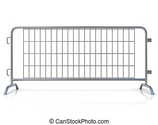 Steel barricades. Front view - Steel barricades, isolated on...