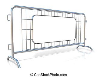 Steel barricades. Side view - Steel barricades, isolated on...