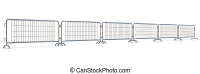 Steel barricades row, isolated on white background. Front...