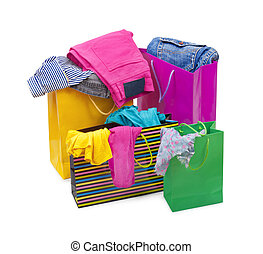 color shopping bags with clothing isolated on white