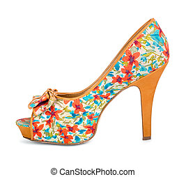 colorful shoes with floral print on a white background