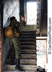 Man climbing the stairs with the danger - Peofessional...