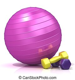 Violet fitness ball and weights