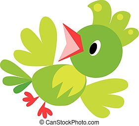 Children vector illustration of funny bird or parrot -...