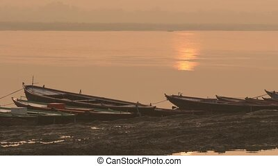 Row boats on Ganges River - Varanasi, India, boats on ganges...