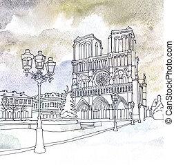 Drawing of Notre Dame de Paris, France - Watercolor and pen...