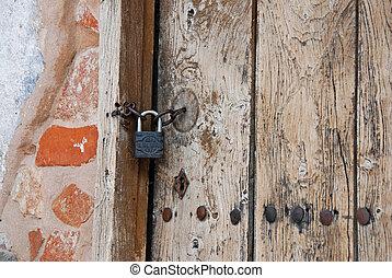 Old door with key lock