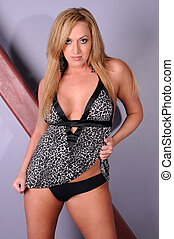 Blonde - Statuesque blonde in animal print lingerie