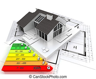 Energy efficient home - 3D rendering of a house on top of...
