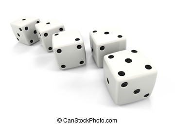Dice in a Row in the Order of Fibonacci Sequence - Six dice...