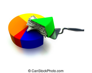 Money Pie Chart - A money pie chart 3d render, an...