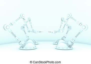 Robot Arms for Automation - A hazed out 3d render of robotic...