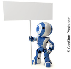Glossy Blue Robot Standing Holding Sign - A glossy robot...