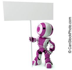 Glossy Pinkish Robot Standing Holding Sign