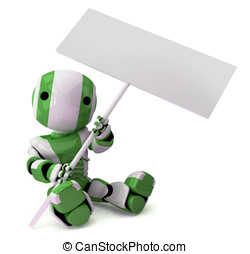 Glossy Green Robot Holding Sign Sitting Down