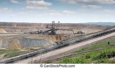 open coal mine with excavator mining industry