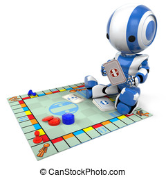 Blue Robot Playing Board Game - A blue robot playing a...