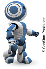 Blue White Robot Walking Vector Derivative - A blue and...