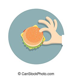 Hand with  hamburger in cartoon style