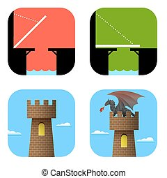 Set of icons bridge and tower Vector EPS10