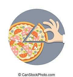 Pizza with hand in cartoon style