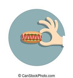 Hand with  hotdog  in cartoon style