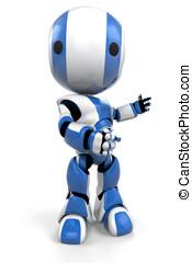 Blue Robot Gesturing