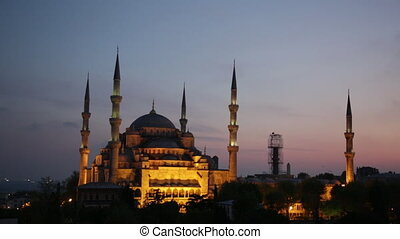 Sultan Ahmed Mosque Blue Mosque in Istanbul on a sunset