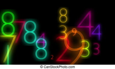 Multicolored flicking numbers in black background