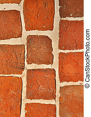 Old brickwork wall - Old red bricks wall vintage background
