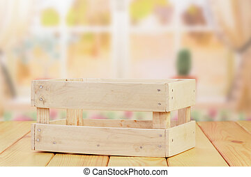 Empty wooden crate on table, close up