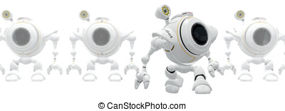 Robot Web Cam Birth of Technology Concept - A robot web cam...