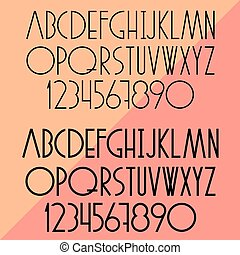 Vector set of slim alphabet and numbers
