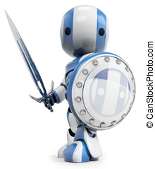 Robot White Knight Warrior - A blue robot holding a sword...