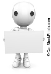 Robot Holding Sign or Business Card