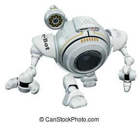 Robot Web Cam Walking Toward Viewer. - A 3d robot web cam...
