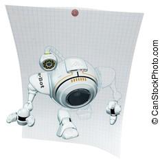 Robot Web Cam Emerging from Graph Paper - A 3d robot web cam...