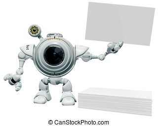 Robot Web Cam Holding Business Card. - A 3d robot web cam...