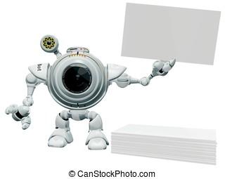 Robot Web Cam Holding Business Card. - A 3d robot web cam...