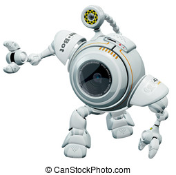 Robot Web Cam Looking Up in Cute Manner - A robot web cam...