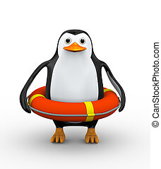 3d penguin in life preserver lifebuoy ring - 3d illustration...