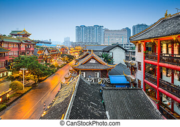 Chengdu Cityscape - Chengdu, China at traditional Qintai...