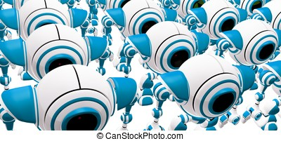 Crowd of Robots Standing in Rows - A crowd of robots...